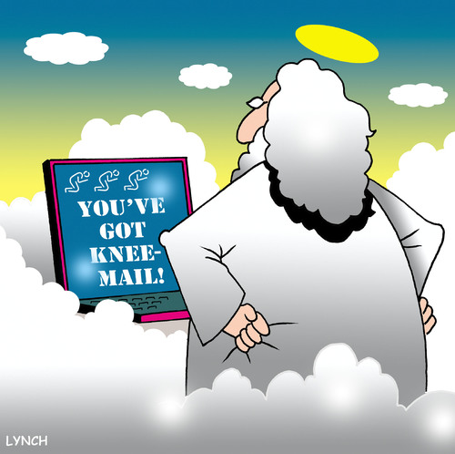 Cartoon: knee mail (medium) by toons tagged email,laptops,computers,god,heaven,prayer,praying