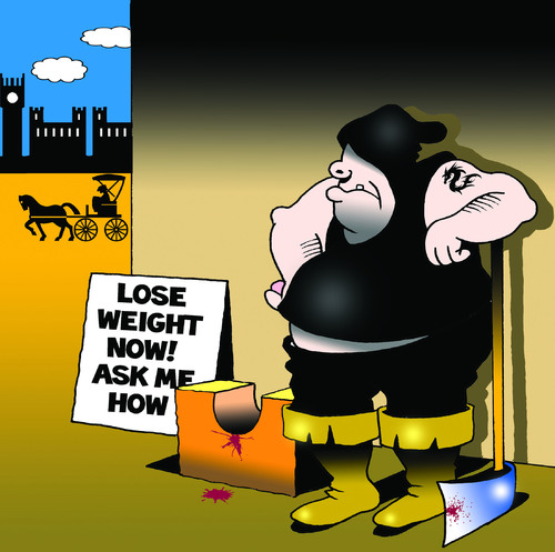 Cartoon: lose weight now (medium) by toons tagged weight,loss,programs,diets,dieting,food,gallows,guillotine,execution,obesity,overeating,executioner,decapitated