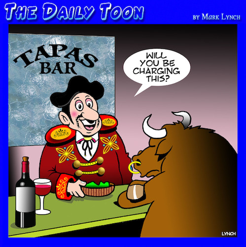 Cartoon: Matador (medium) by toons tagged tapas,bar,matador,bulls,bullfights,restaurants,animals,spain,spanish,cuisine,tapas,bar,matador,bulls,bullfights,restaurants,animals,spain,spanish,cuisine