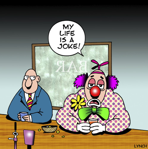 Cartoon: My life is a joke (medium) by toons tagged clowns,circus,pubs,jokes,bars,drinking,beer,depression,drunk,complaining,performer