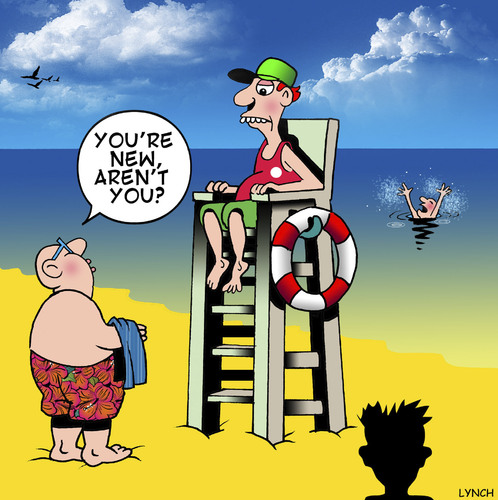 Cartoon: New here (medium) by toons tagged lifeguard,lifesaver,drowning,beaches,saving,lives,holidays