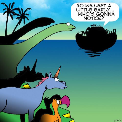Cartoon: Noahs ark (medium) by toons tagged unicorns,do,bird,dinosaurs,noah,ark,animals,endangered,species,extinct,bible,stories,unicorns,do,bird,dinosaurs,noah,ark,animals,endangered,species,extinct,bible,stories