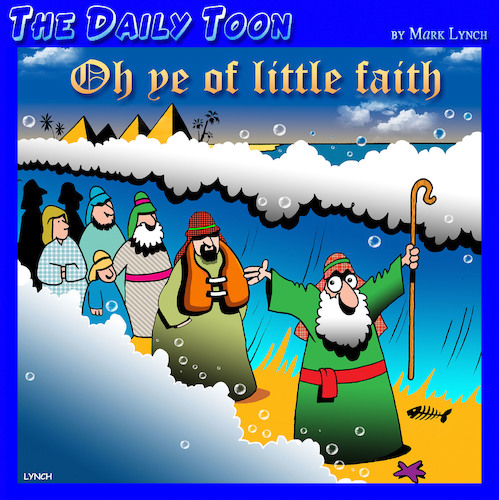 Cartoon: Oh ye of little faith (medium) by toons tagged moses,parting,the,red,sea,bible,stories,miracles,life,vest,flotation,device,moses,parting,the,red,sea,bible,stories,miracles,life,vest,flotation,device