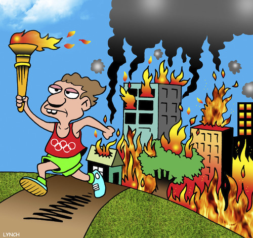 Cartoon: Olympics torch (medium) by toons tagged cities,after,hosting,the,olympics,marathon,runner,olympic,torch,bushfires,fires,cities,after,hosting,the,olympics,marathon,runner,olympic,torch,bushfires,fires
