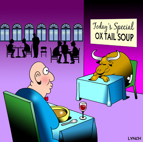 Cartoon: Ox tail soup (medium) by toons tagged soup,ox,tail,restaurants,menu,food,drink,waiters,cafe,animals,cows,oxen,beast,of,burden