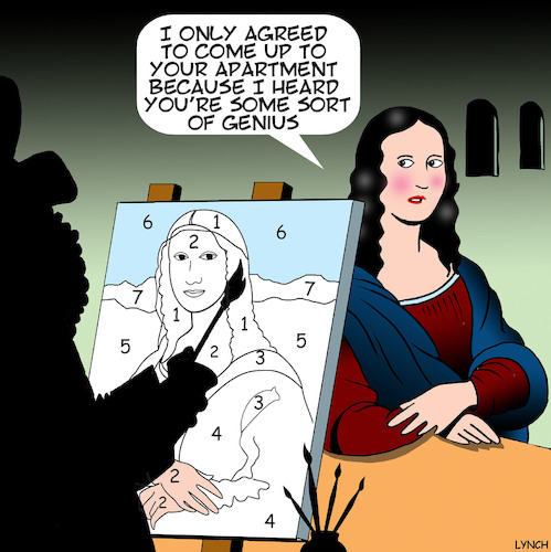 Cartoon: Paint by numbers (medium) by toons tagged mona,lisa,paint,by,numbers,leonardo,da,vinci,artists,portrait,painting,history,mona,lisa,paint,by,numbers,leonardo,da,vinci,artists,portrait,painting,history