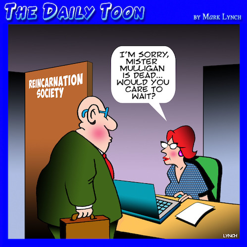 Cartoon: Reincarnation (medium) by toons tagged reincarnation,care,to,hold,afterlife,reincarnation,care,to,hold,afterlife