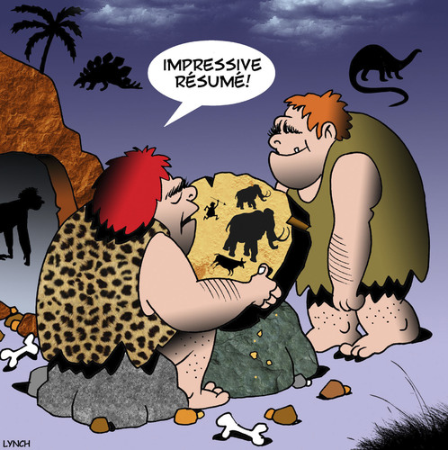 Cartoon: Resume (medium) by toons tagged caveman,prehistoric,resume,employment,history,caveman,prehistoric,resume,employment,history