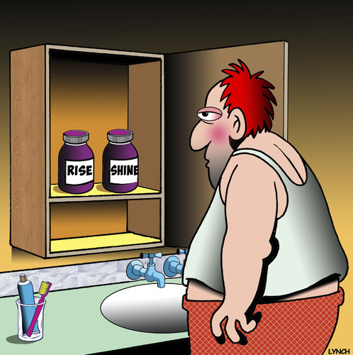 Cartoon: Rise and shine cartoon (medium) by toons tagged morning,person,pills,bathroom,cabinet,hungover,medicine,morning,person,pills,bathroom,cabinet,hungover,medicine