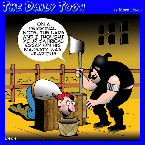 Cartoon: Satire (medium) by toons tagged jester,beheading,medieval,guillotine,executioner,essay,blogs,jester,beheading,medieval,guillotine,executioner,essay,blogs