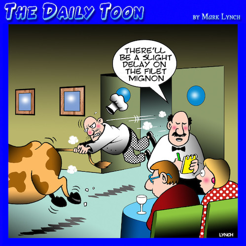 Cartoon: Steak (medium) by toons tagged filet,mignon,cows,cattle,restaurants,waiters,chefs,filet,mignon,cows,cattle,restaurants,waiters,chefs