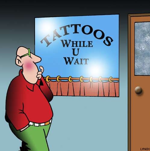 Cartoon: Tattoo parlour (medium) by toons tagged tattoos,while,you,wait,silly,signs,body,art,tattoos,while,you,wait,silly,signs,body,art