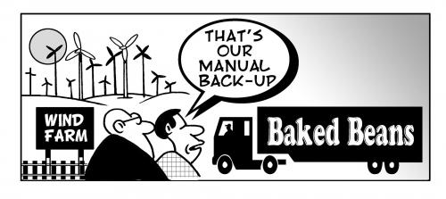 Cartoon: the manual backup (medium) by toons tagged wind,farms,energy,baked,beans,farting,environment