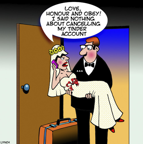 Cartoon: Tinder (medium) by toons tagged bride,and,groom,tinder,just,married,infidelity,bride,and,groom,tinder,just,married,infidelity