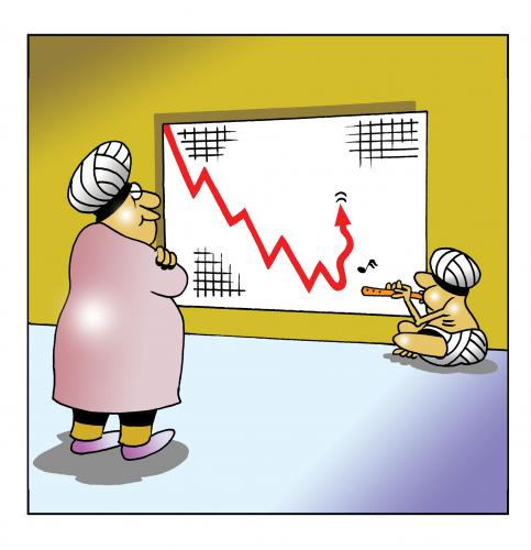 Cartoon: up please (medium) by toons tagged snake,charmerindia,pakistan,economy,graph,finance,snakes,recession,turban
