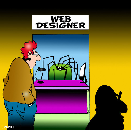 Cartoon: Web designer (medium) by toons tagged web,design,www,website,communications,spiders,spiderweb,internet,computers,google,online,server