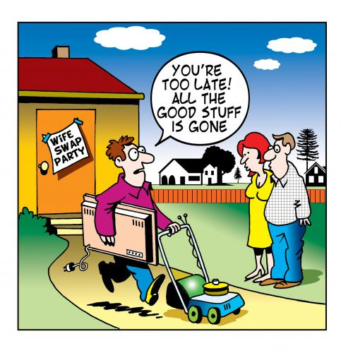 Cartoon: wife swap (medium) by toons tagged wife,swapping,lawn,mower,infidelity,swap,plasma,tv,neighbors,romance