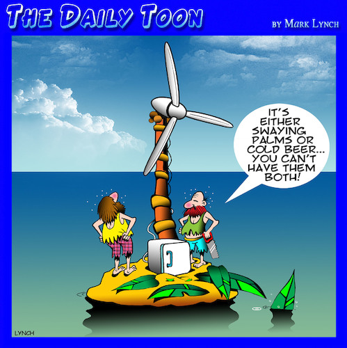 Cartoon: Wind turbine (medium) by toons tagged cold,beer,desert,island,wind,farm,palm,trees,mini,bar,fridge,cold,beer,desert,island,wind,farm,palm,trees,mini,bar,fridge