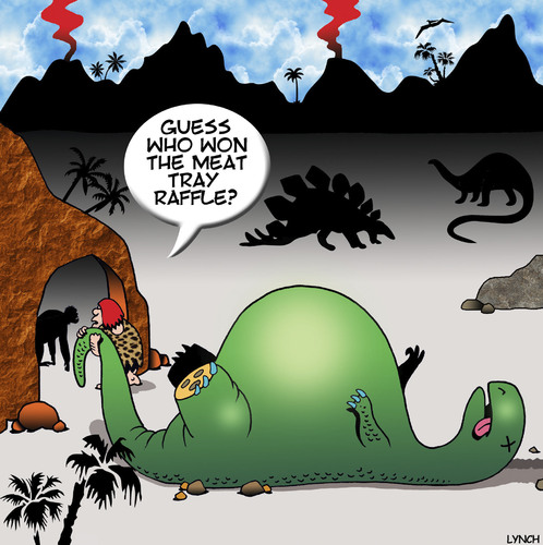 Cartoon: Winner (medium) by toons tagged prehistoric,tray,meat,food,winner,lotto,dinosaur,caveman,raffle,raffle,caveman,dinosaur,lotto,winner,food,meat,tray,prehistoric