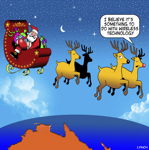 Cartoon: Wireless technology (medium) by toons tagged christmas,xmas,santa,wireless,technology,santas,reindeers,australia,texting,while,driving,christmas,xmas,santa,wireless,technology,santas,reindeers,australia,texting,while,driving