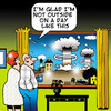 Cartoon: A day like this (small) by toons tagged nuclear,arms,bombing,weather,atomic,weapons,war,suburbia,marriage,attack