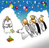 Cartoon: Angels playing quoits (small) by toons tagged quoits,angels,heaven,universe,god,games,clouds,planets,stars,halo,religion
