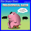 Cartoon: Bacon (small) by toons tagged descartes,pigs,bacon,thinking,farmyard,meaning,of,life