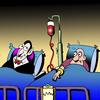 Cartoon: Bloody hungry (small) by toons tagged vampires,hospitals,blood,transfusion,doctors,surgeon,hospital,bed,hungry,types,medical