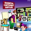 Cartoon: cartoonist supplies (small) by toons tagged cartoonist cartooning art supplies wine vino drawing painting