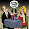 Cartoon: Cheeky little wine (small) by toons tagged wine,connoisoir,tasting,cleavage,breasts,making,reatauarants,consumption,food