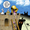 Cartoon: chips (small) by toons tagged chips,french,fries,oil,medievil,castle,siege,battle,war,food,chefs,restaurants,potatoes,burning
