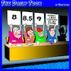 Cartoon: Diving competition (small) by toons tagged staring,at,phones,swimming,judges,holding,up,scores,diving,olympics,sport