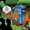 Cartoon: Does a bear shit in the woods? (small) by toons tagged bears,famous,questions,animals,forests,porta,loo,toilets,portable,hunters