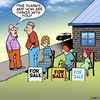 Cartoon: Fine thanks (small) by toons tagged family,hard,times,selling