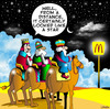 Cartoon: from a distance (small) by toons tagged christmas,three,wise,men,mcdonalds,jesus,xmas,hamburger