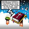 Cartoon: heaven is unattended (small) by toons tagged heaven hell god answering machines fax email phones mobile messaging social networking computers angels bible st peter universe planets earth mars venus jupiter black hole praying prayers