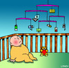 Cartoon: Mobiles (small) by toons tagged mobiles,apps,twitter,facebook,babies,crib,cot,laptops,ipod,ipad,apple,children