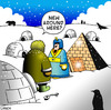 Cartoon: new around here (small) by toons tagged pyramid egypt pharoh eskimo penguin igloo arctic immigration strangers polar bears seals housing