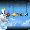 Cartoon: Newtons cradle (small) by toons tagged mewtons,cradle,silver,metal,balls,god,desk,ornament,planets,earth,the,universe