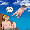 Cartoon: OMG (small) by toons tagged omg,oh,my,god,mobile,phones,gen,creation,heaven,religion