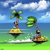 Cartoon: outboard escape (small) by toons tagged desert,island,outboard,motor,escape