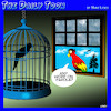 Cartoon: Parole (small) by toons tagged parrots,parole,jail,birds,birdcage,prison