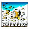 Cartoon: polluted geese (small) by toons tagged environment,global,warming,geese,birds,chimney,stacks,greenhouse,effect,pollution,gas,mask,emmissions,trading