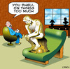 Cartoon: Thinking mans psychiatrist (small) by toons tagged the,thinker,psychology,psychiatrist,couch,rodin,sculpter,sculpture,arts,depression,dwell,medical,head,case,statue