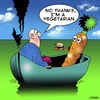 Cartoon: Vegetarian (small) by toons tagged vegetarian,carrots,stranded,vegetables,marooned,diet,hamburger,ships