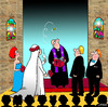Cartoon: wedding tosser (small) by toons tagged weddings,marriage,matrimony,love,coin,toss,church,pastor,priest,relationships,change,of,heart,gambling,bride,groom,bridesmaid