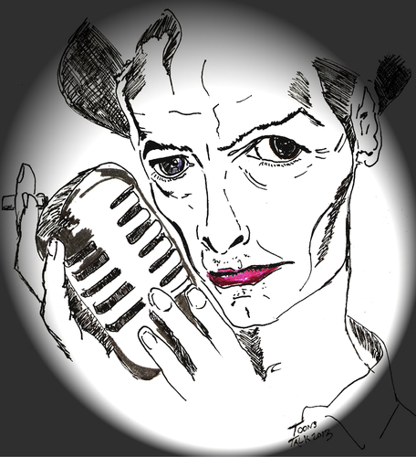 Cartoon: Bowie (medium) by Toonstalk tagged david,bowie,glam,rock,ziggy,stardust,thin,white,duke,british,entertainer,singer,actor,microphone