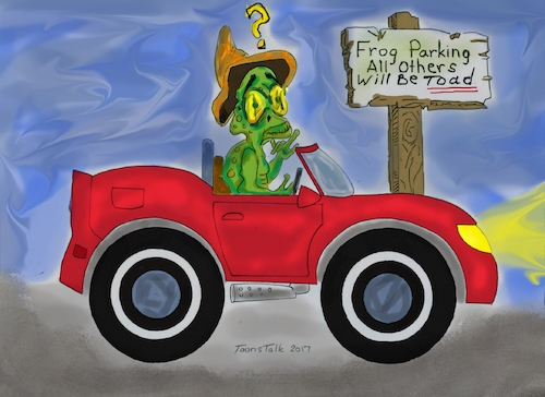 Cartoon: Confused (medium) by Toonstalk tagged frogs,toads,towed,parking,penalty,ticketed,illegal,toad,confused,sign,posting,rules,funny,question,what,who,where,driver,auto,laugh
