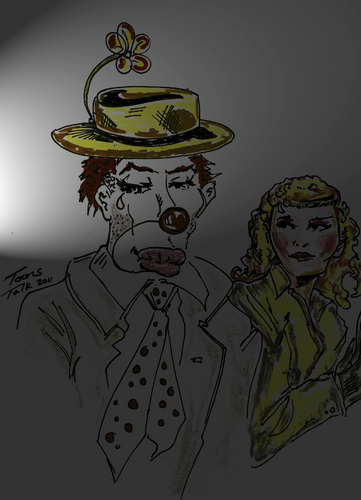 Cartoon: WAITING IN THE WINGS (medium) by Toonstalk tagged girl,makeup,mask,theatre,performer,crying,clown,actor,hobo