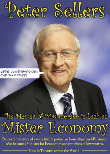 Cartoon: Mister Economy (medium) by prinzparadox tagged rainer,brüderle,fdp,peter,sellers,mister,economy,film,movie,plakat,poster,schwarzgelb,cdu,minister,economics